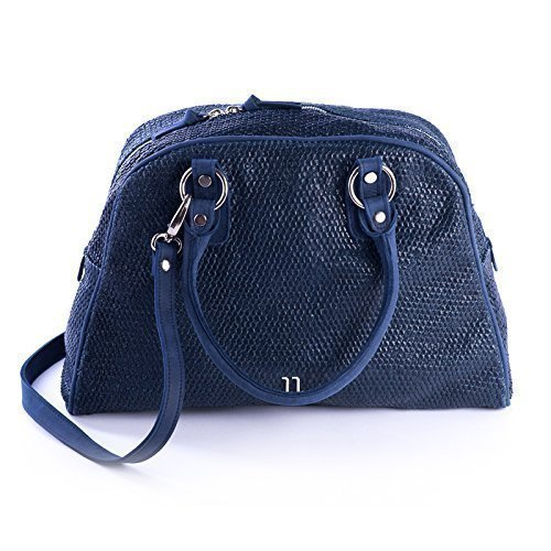 Blue Italian Textured Leather Tote Bag with Spacy Interior, Four Inner Pockets, and a Cross Shoulder Adjustable Strap, Women's Designer Handmade - Prada Online Shopping