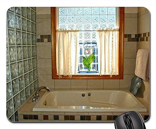 Mouse Pads - Bathtub Stained Glass Window Pink Lady Slipper Bath