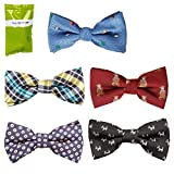 Bundle Monster 5 pc Boys Mixed Pattern Adjustable Elastic Pre-Tied Bow Tie Fashion Accessories - Set 5