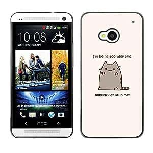 FECELL CITY // Duro Aluminio Pegatina PC Caso decorativo Funda Carcasa de Protección para HTC One M7 // Cute Cat Cartoon Funny Fat Yellow Text