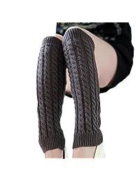 Tenworld Women Winter Gift Fashion Leg Warmers Knitted Crochet Long Socks