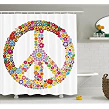 Ambesonne Groovy Decorations Shower Curtain Set, Floral Peace Sign Summer Spring Blooms Love Happiness Themed Illustration Print, Bathroom Accessories, 69W X 70L Inches, Multi