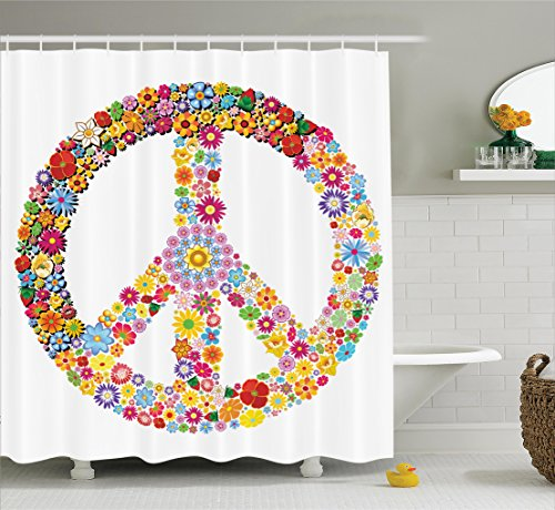 Happiness Collection Peace Sign - Ambesonne Groovy Decorations Shower Curtain Set, Floral Peace Sign Summer Spring Blooms Love Happiness Themed Illustration Print, Bathroom Accessories, 75 Inches Long, Multi