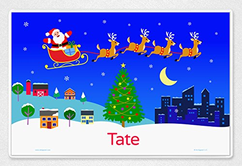 Art Appeel Personalized Santa Town Christmas Custom Placemat, Laminated 18