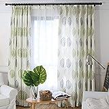 Green Leaf Curtain for Living Room – 1 Panel Off White Grommet Top Drape 42×84 Inch