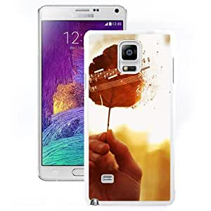 New Pupular And Unique Designed Case For Samsung Note 4 With The Leaves Of The Music White Phone Case