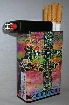 Cigarette Case Cross and Skull with Built on Lighter Holder