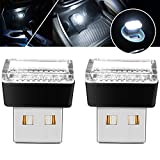 USB LED Atmosphere Lights Mini Car Interior Ambient Lighting Kit-Universal (White, 2 pcs)