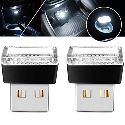 - USB LED Atmosphere Lights Mini Car Interior Ambient Lighting Kit-Universal (White, 2 pcs)