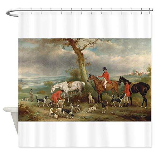 KOiomho Vintage Painting of The Hunt Decorative Fabric Shower Curtain (69