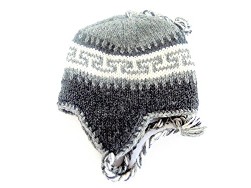 Sherpa Fleece Cap - Nepal Hand Knit Dhvaja Sherpa Hat - Premium Cold Weather Hat with Ear Flaps & Soft, Warm & Comfortable Fleece Lining