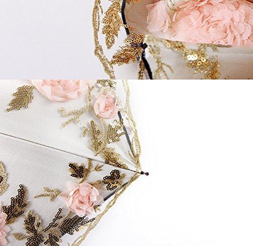 Honeystore Lace Parasol Decoration Bridal Shower Vintage Umbrellas for Wedding 3 Fold Beige by Honeystore (Image #4)