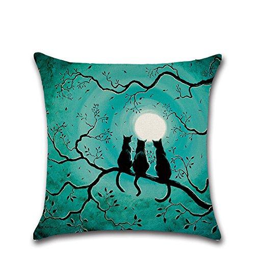 Mosunx Happy Halloween Pillow Cases Linen Sofa Cushion Cover Home Decor (Halloween Alien Cocoon)