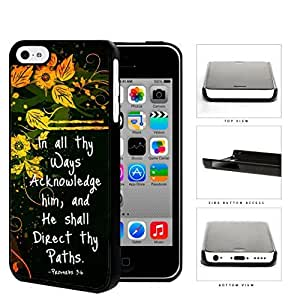 Proverbs 3:6 Bible Verse with Orange Yellow Floral Vine Design and Black Background iPhone 5c Hard Snap on Plastic Cell Phone Case Cover