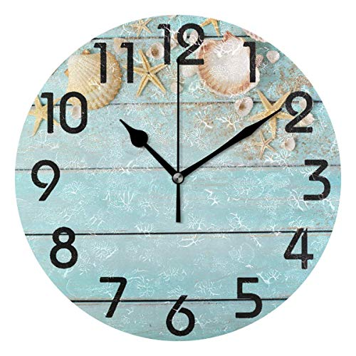 Outdoor Seashell Wall Mount - Dozili 3D Beautiful Summer Style Starfish Seashells on Wooden Background Round Wall Clock Arabic Numerals Design Non Ticking Wall Clock Large for Bedrooms,Living Room,Bathroom