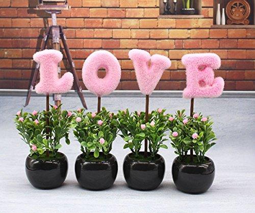 C&L LOVE Mini Purple Hedge Artificial Plants, Ceramic Cube Faux Flowers Planters - Uk Official Website Pink