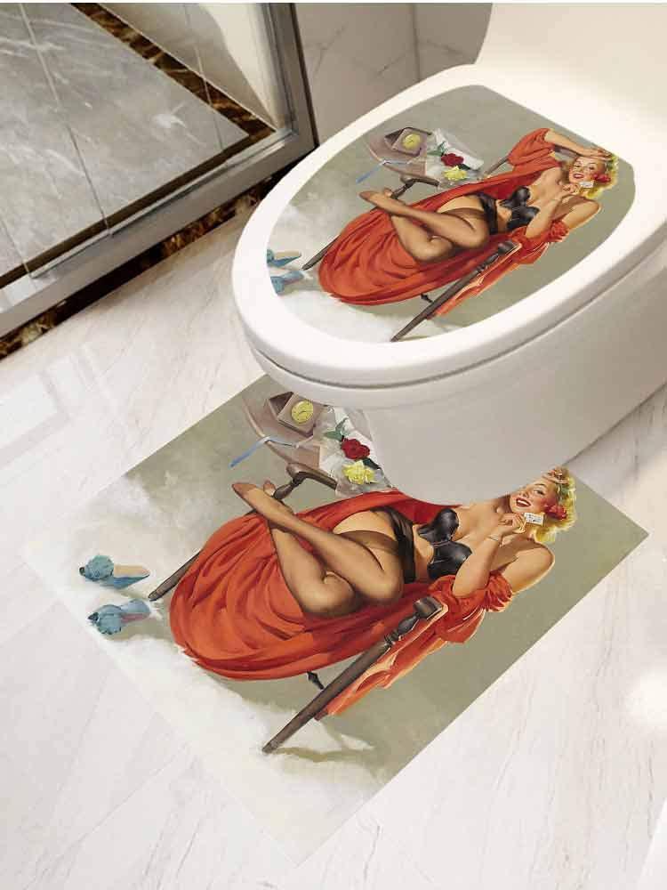 AuraiseHome Bathroom Toilet seat Sticker Decal Pinup Girl Wallpaper Girls Pinups Seat Sticker Decor 2-Piece Set by AuraiseHome