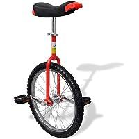 vidaXL Monocycle Ajustable Rouge 20 Pouces pour Enfants Jeunes Monocycles Débutants