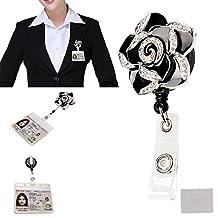 xhorizon™ Fashionable Hot Black Camellia Rhinestones Floral Flower Cute Lovely Adorable ID/IC Badge Belt Clip Reel Flexible Retractable Holder ZA5