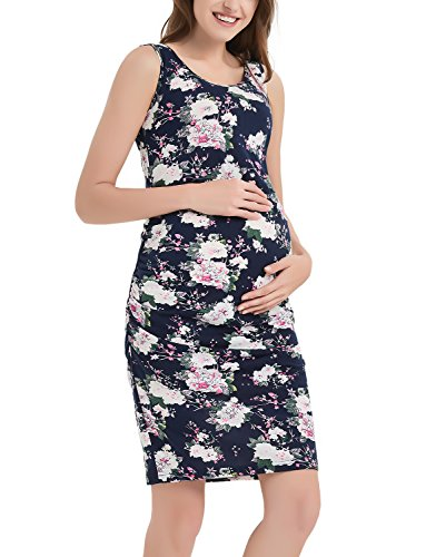 Bhome Maternity Floral Tank Dress Sleeveless Midi Bodycon Dress for Pregnant Women Casual Ruched Sides Navy with White Flower Print M