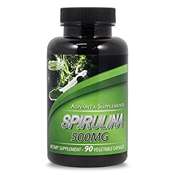 Premium Spirulina Dietary Supplement 500mg By Advanta Supplements -Non-GMO Vegetarian Superfood - Protein, Vitamin B12 & K + Amino Acids