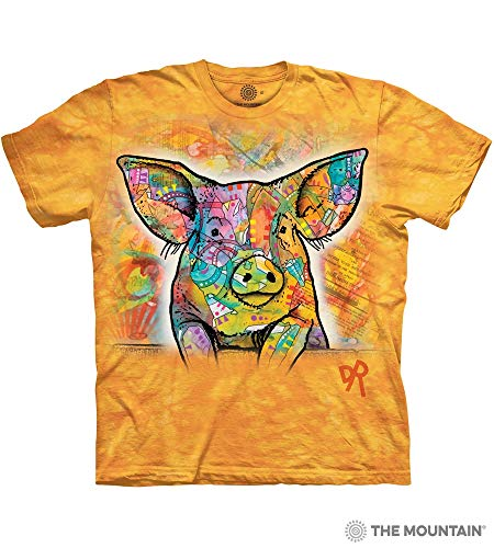 (The Mountain Russo Pig Adult T-Shirt, Yellow,)