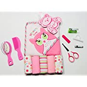 Newborn - Infant - Baby Girl - 13 piece Baby Bath Set - Baby Shower Gifts - Set Includes: Soft Pink Owl Baby Towel - Baby Wash Clothes - Baby Nail Clippers - Baby Scissors - Baby Comb - Baby Brush