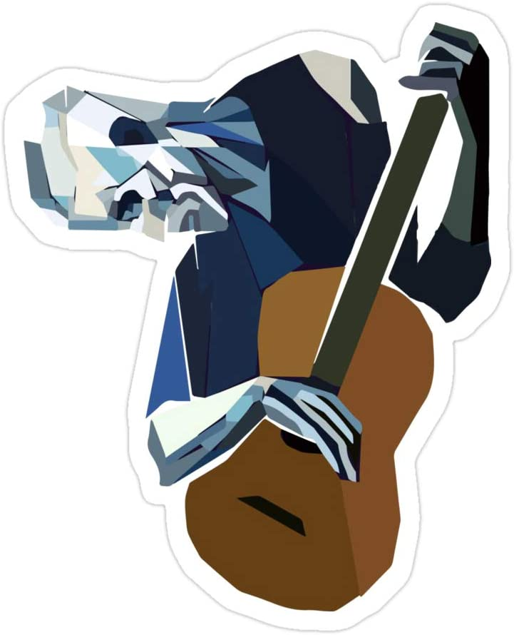 creamrinhz (3 PCs/Pack) Pablo Picasso Old Guitarist 1903 Artwork Reproduction 3x4 Inch Die-Cut Stickers Decals for Laptop Window Car Bumper Helmet Water Bottle