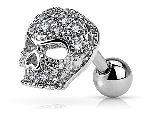 Forbidden Body Jewelry 16g Surgical Steel Micro CZ Paved Skull Cartilage Stud Earring -