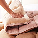 CNZXCO Both Sides Available Tatami Floor Mattress Sleeping pad Folding, Mattress pad Protector Topper Floor futon Mattress Coral Fleece- Light Brown 135x200cm(53x79inch)
