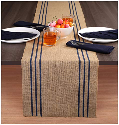 Ramanta Home 2-Pack Rustic Farmhouse Stripe Burlap Jute Table Runners 14x90 Natural with Navy Stripe