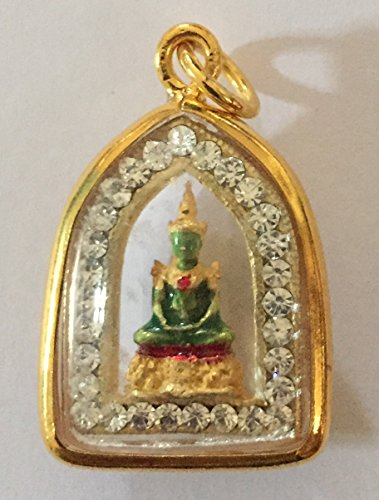 Rare Pendant Necklace Buddhist Phra Kaew Morakot Emerald 3 Season Thai Buddha Holy Amulet Pendant Crystal Gold by San Jewelry