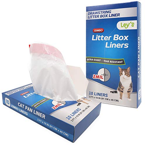Ley's Jumbo Cat Litter Box Liners, Heavy Duty Cat Litter Pan Liners, Drawstring, Extra Thick, 10/20 Count