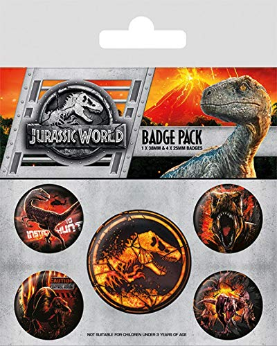 Jurassic World Paquet De Badges - Fallen Kingdom, 1 X 38mm & 4 X 25mm Badges (15 x 10 cm) 1art1®