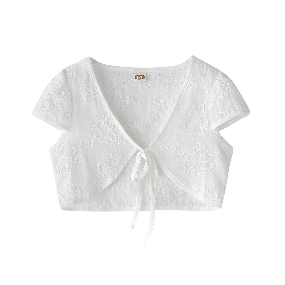 CHENXIN Girls Knit White Short Sleeve Bolero Cardigan Shrug (White4, 130/5-6T)