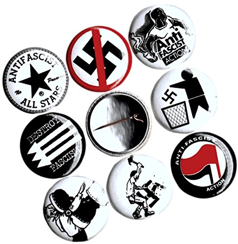 "Custom & Novelty {1"" Inch} 8 Piece Pack, Mid-Size Button Pin-Back Badges for Unique Clothing Accents, Made of Rust-Proof Metal w/ Anti-Nazi Anti-Fascist Anti-KKK Political Statement Style [Multicolor]"