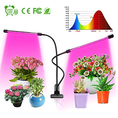 Grow Light, Upgraded Version Dual Head Timing Plant Growth Light,LED Dimmable Plant Grow Lights for Indoor Plants with Red Blue Spectrum, 360°Adjustable Gooseneck,Timer, 3 Switch Modes Blue Finish Adjustable Gooseneck