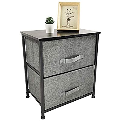 KKTONER Nightstand Dresser Storage Tower Organizer with 2 Drawer Vertical Dresser Foldable Pull Fabric Bins for Bedroom