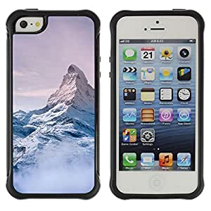 Híbridos estuche rígido plástico de protección con soporte para el Apple iPhone 5 / 5S - mountain snow sky high white blue