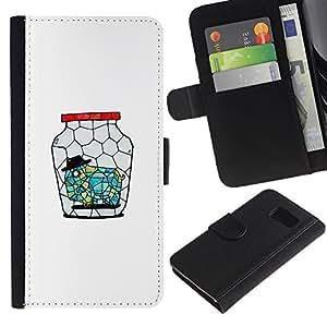 ARTCO Cases - Samsung Galaxy S6 SM-G920 - Cute Cartoon Elephant in Jar - Cuero PU Delgado caso Billetera cubierta Shell Armor Funda Case Cover Wallet Credit Card