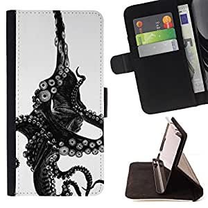For LG Nexus 5 D820 D821 Octopus Black White Sea Animal Monster Style PU Leather Case Wallet Flip Stand Flap Closure Cover