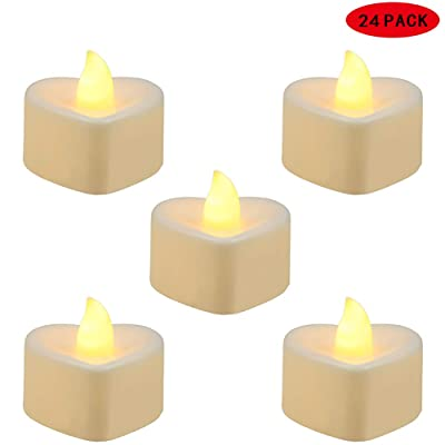 Tea Lights by Fiee, 24PACK Flameless LED Tea Lights Candles, Flickering Warm Yellow with Heart Base,Battery-Powered Tea Light, Ideal Party, Wedding, Birthday, Gifts Home Decoration,D1.4'' xH1.5'': Home Improvement