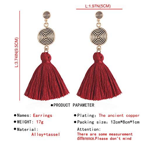 Kalapure Women Girls Bohemian Statement Chandelier Thread Fringe Tassel Drop Dangle Earrings Stud Earring
