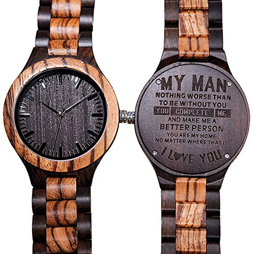 Engraved Back Wood Watches for Men Groomsmen Personalized Wooden Watch Nice Gift Chioce for Your Special Person