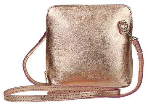 Leather Champagne Genuine Metallic Girly Shoulder Cross Body HandBags Bag qRAx7P
