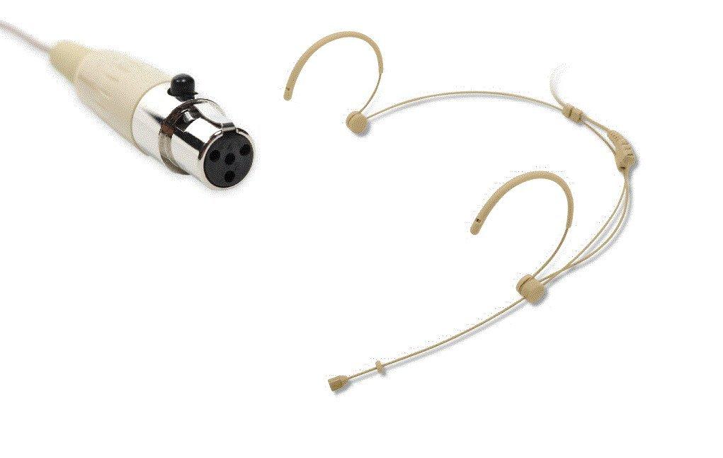 Luxury Beige Double Earhook Headset Microphone(TA4F) 4 pins fits Shure wireless Boly BL-HS32