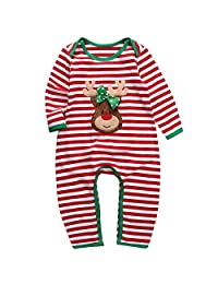 Babys Long Sleeve Striped Christmas Bodysuit Romper Pajama Set Outfits