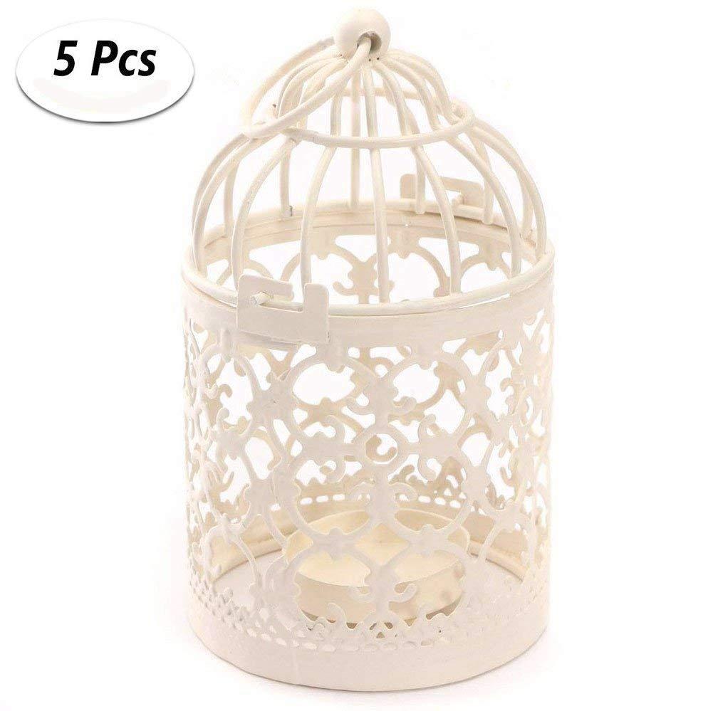 Kentop, gabbia per uccelli in metallo, 8x 14cm, porta candela, matrimonio, casa, tavolo, decorazione, in colore bianco, 1pcs, 8*8*14CM
