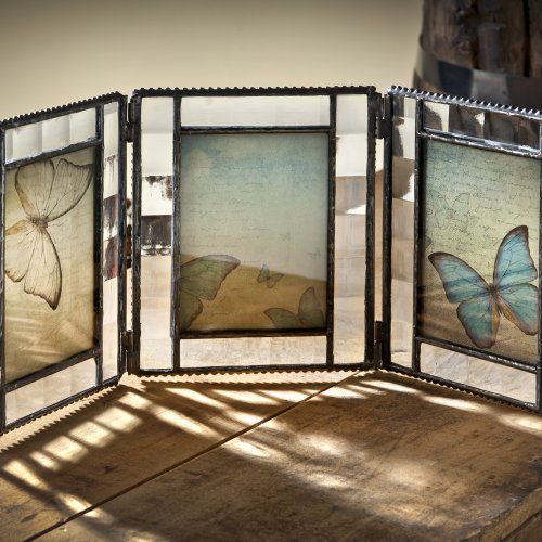 Vanity Triple Dresser (J Devlin Pic 345-3 Triple Hinged Glass Photo Frame with Butterfly Prints Holds Three 2 1/2 x 3 1/2)