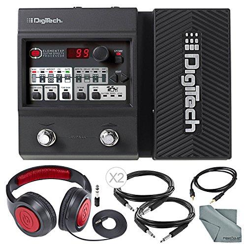 DigiTech Element XP Guitar Multi Effects Pedal + Deluxe Bundle with Closed-Back Headphones, Cables, Fibertique Cloth